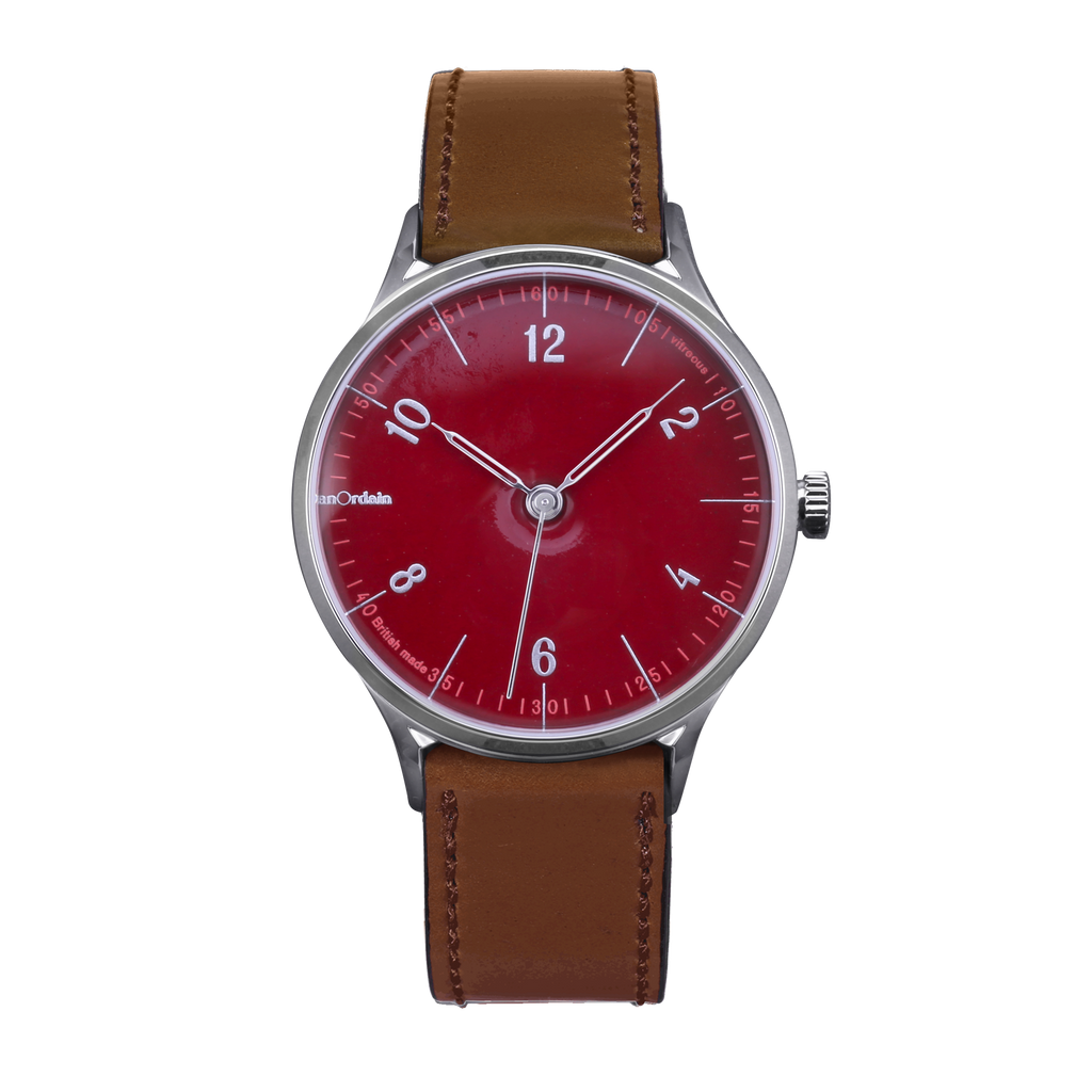 anOrdain Model 1 with post office red dial and brown shell cordovan strap