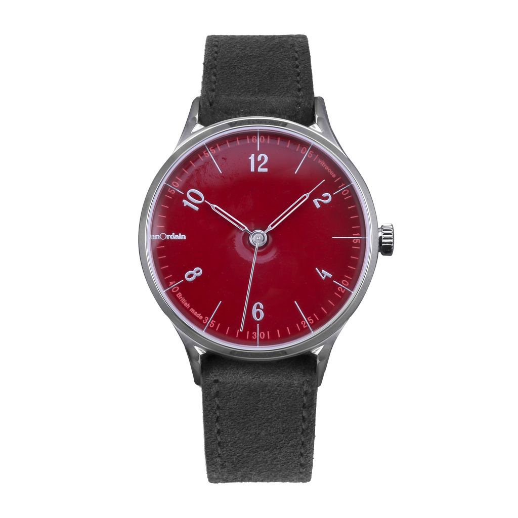 anOrdain Model 1 with post office red dial and green suede strap