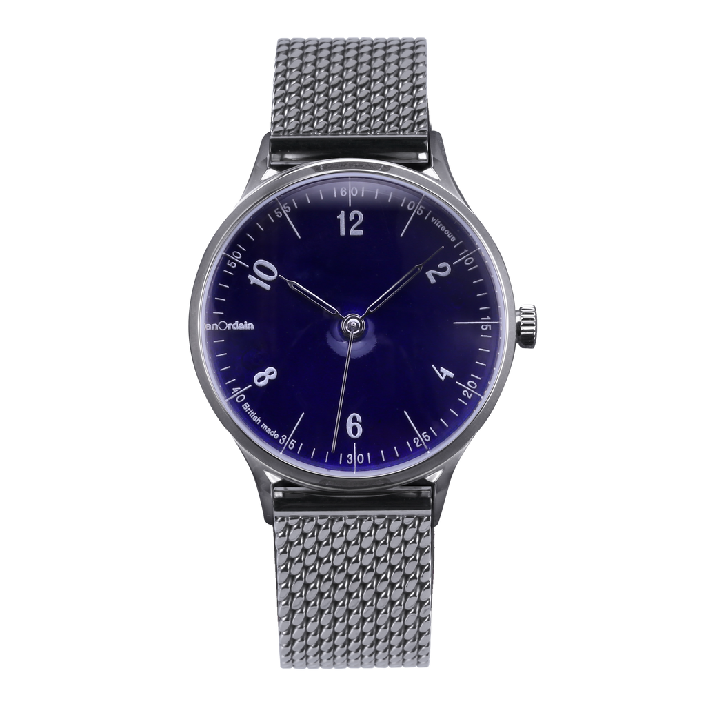 anOrdain Model 1 with translucent dial and Staib Milanese mesh