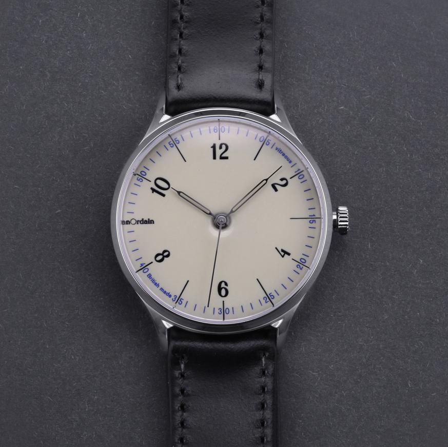 anOrdain Model 1 watch with Iron Cream enamel dial