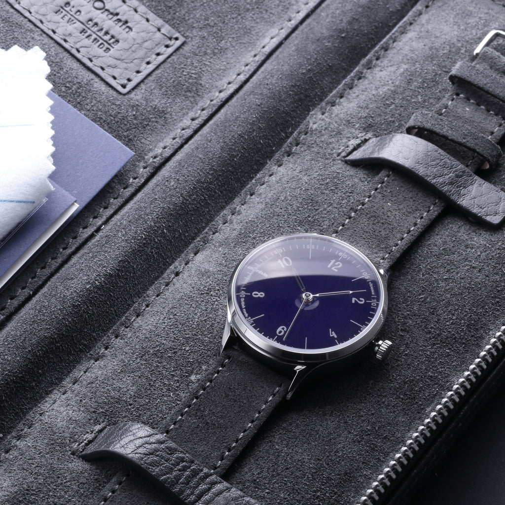 Detail of suede lining from anOrdain leather carry case - provided with each Model 1 watch