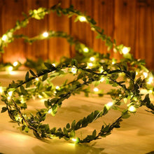 Load image into Gallery viewer, 16.4ft Green Leaf Garland Fairy String Light Battery Operated for Christmas Party New Year Rustic Wedding Garden Decoration