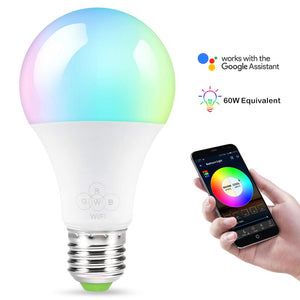 Smart Wifi LED Light Bulbs Compatible with Alexa and Google Home, Siri, IFTTT , Color Changing Light Bulbs, Dimmable with App, A19 E26, 60 Watt Equivalent, No Hub Required