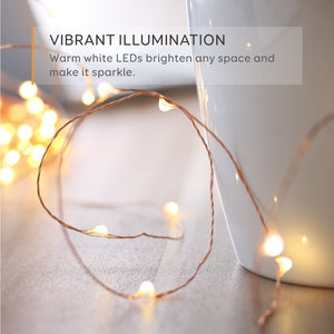 Fairy Lights Battery Operated for Bedroom Indoor Outdoor Warm White 60 LEDs 20F Timer Copper Wire Lights, Pack of 3 set
