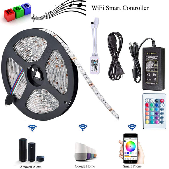 LED Strip Lights, WiFi Wireless Smart Phone Controlled Light Strip LED Kit 2835 LED Lights,Working with Android and iOS System,Alexa, Google Assistant