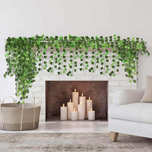 Load image into Gallery viewer, Fake Ivy Leaves 12pcs 6.56FT Fake Vines Artificial Ivy Green Hanging Plant Vine for Wedding Wall Decor, Party Room Décor Indoor & Outdoo