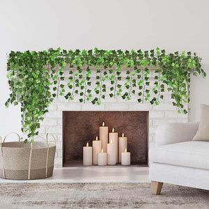 Fake Ivy Leaves 12pcs 6.56FT Fake Vines Artificial Ivy Green Hanging Plant Vine for Wedding Wall Decor, Party Room Décor Indoor & Outdoo