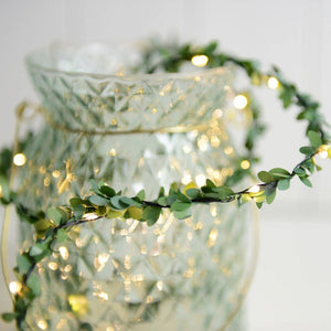 16.4ft Green Leaf Garland Fairy String Light Battery Operated for Christmas Party New Year Rustic Wedding Garden Decoration