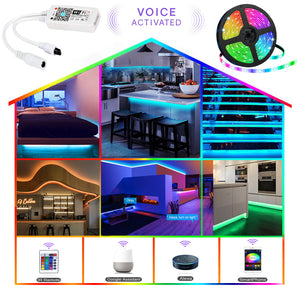 WIFI Smart Waterproof LED Strip Light Smart Phone Controlled ,Works with Android and iOS,IFTTT,Google Assistant and Alexa,16.4ft RGB Color Changing for Bedroom, Party and Home Decoration【FREE SHIPPING】