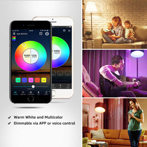Smart Wifi LED Light Bulbs Compatible with Alexa and Google Home, Siri, IFTTT , Color Changing Light Bulbs, Dimmable with App, A19 E26, 60 Watt Equivalent, No Hub Required【FREE SHIPPING】