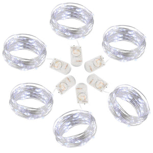 Pack of 6 Set Fairy Lights LED String Lights Battery Operated 20 LED 7.2ft Firefly Lights Starry String Lights for DIY Wedding Centerpiece, Christmas Decoration, Bedroom Cool White