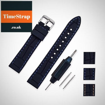 Diver Strap Leather Rubber 20/22/24/26 TimeStrap Black Black Buckle / 20mm