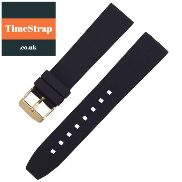 Diver Strap Slimer 16/18/20/22/24/26/28mm (70 variations) TimeStrap Black Gold Buckle / 16mm