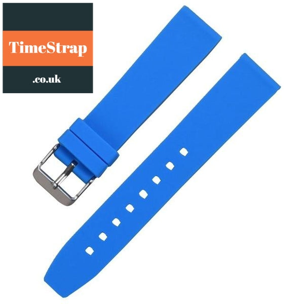 Diver Strap Slimer 16/18/20/22/24/26/28mm (70 variations) TimeStrap Blue Silver Buckle / 16mm