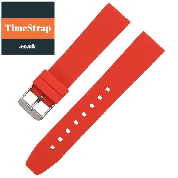 Diver Strap Slimer 16/18/20/22/24/26/28mm (70 variations) TimeStrap Red Silver Buckle / 16mm