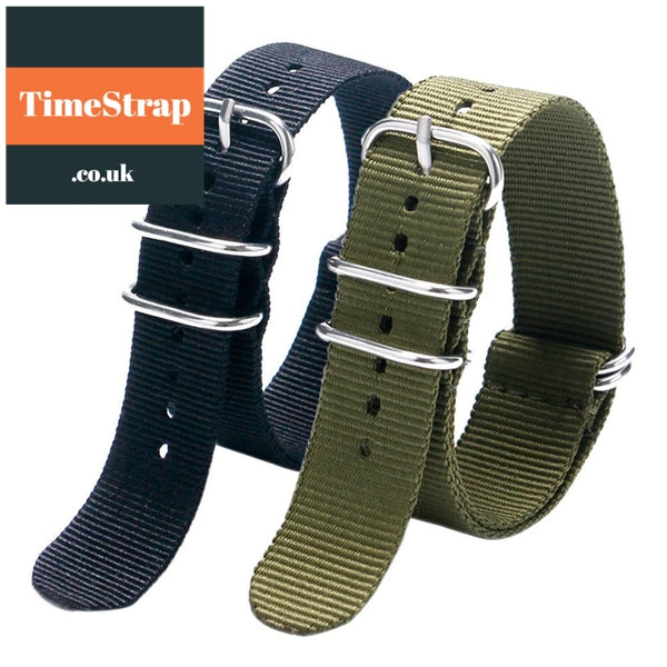 Nato Strap Army Green/Black 20/22mm TimeStrap Black / 20mm