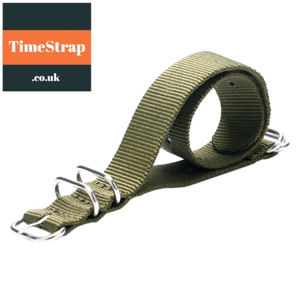 Nato Strap Army Green/Black 20/22mm TimeStrap Green / 20mm