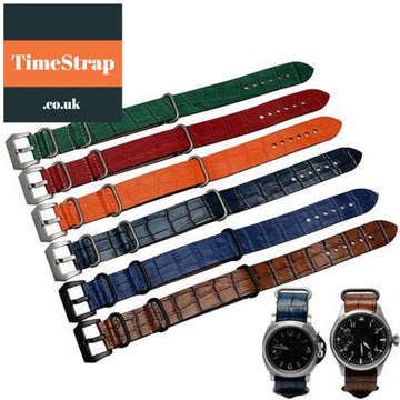 Nato Strap Leather MS-6 Silver/PVD 22/24mm TimeStrap Orange / 22mm Black Buckle