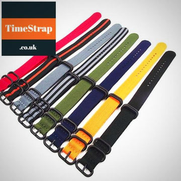 Nato Strap Premium Heavy Duty 5 Ring PVD 18/20/22/24mm TimeStrap Black / 20mm