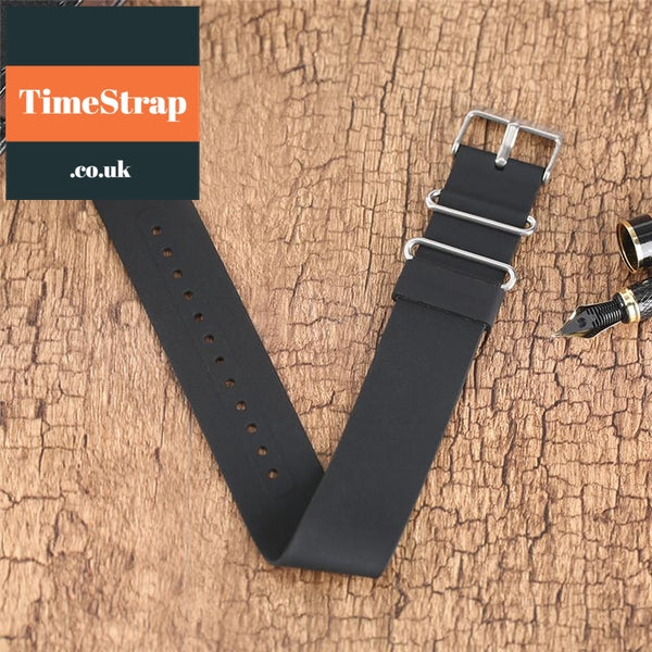 Nato Strap Rubber Blue/Black 18/20/22mm TimeStrap Black / 18mm