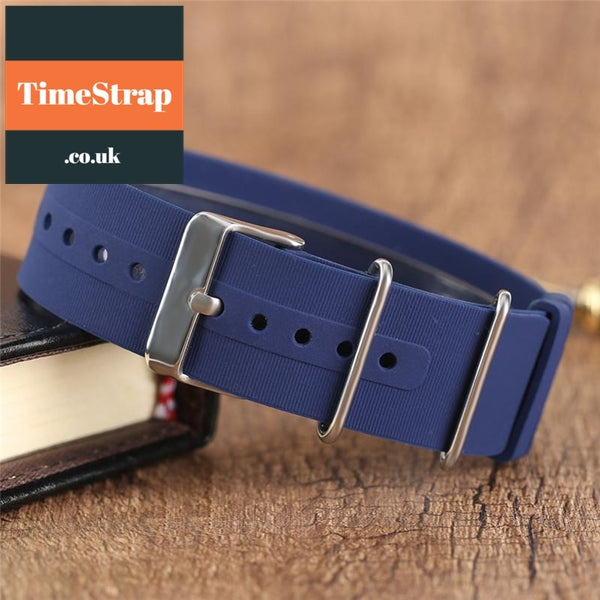 Nato Strap Rubber Blue/Black 18/20/22mm TimeStrap Blue / 18mm
