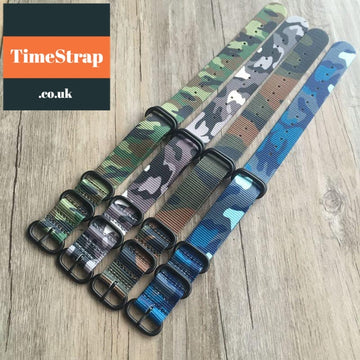 Nato Strap Superior Camouflage Selection (Silver/PVD) 18/20/22/24mm TimeStrap 18mm Color 1 / With silver buckle