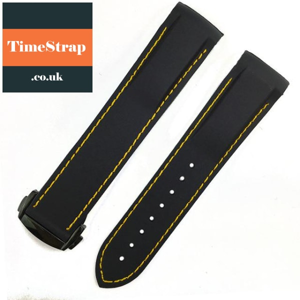 Omega Style Diver Strap Black Yellow Black / 20Mm