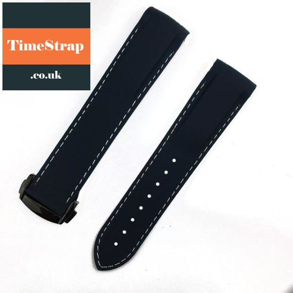 Omega Style Diver Strap Navy Blue White Blac / 20Mm