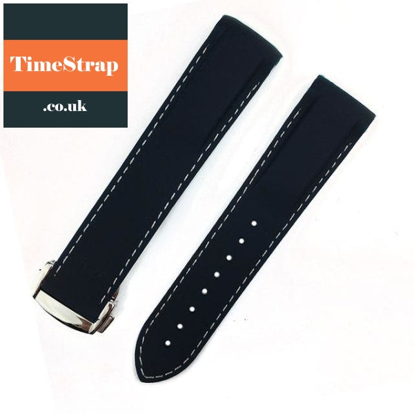 Omega Style Diver Strap Navy Blue White Silv / 20Mm