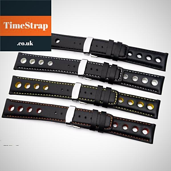 Rally Watch Band 20mm TimeStrap Black with White / 20mm