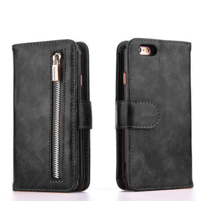 Zipper Wallet Magnet Apple iPhone Case - Black