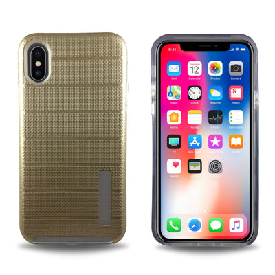 Clear Dual Layer Armor Case for iPhone X - Gold