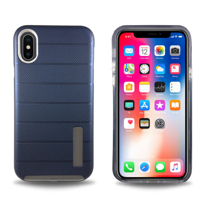 Clear Dual Layer Armor Case for iPhone X - Navy Blue