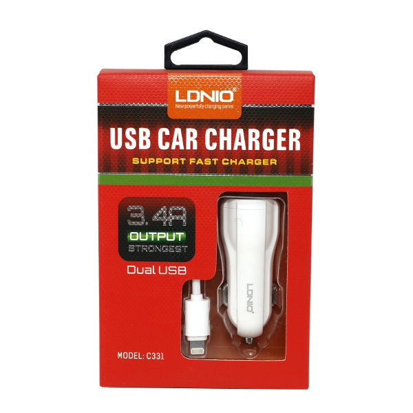 LDNIO Powerful 3.4 A Dual USB Charger w/ IOS Lightning Cable [C331]
