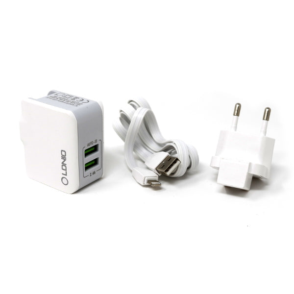 LDNIO Dual USB Wall Charger w/ IOS Lightning Cable 3.3 Ft [A2204]
