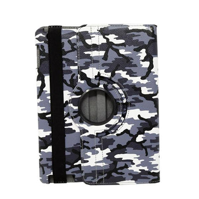 Camouflage 360 Degree Stylish Rotating Apple iPad 3 Case - Grey