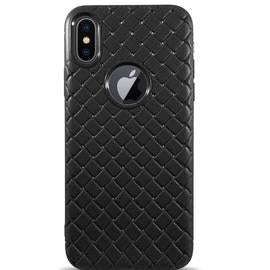 Dama Texture Soft Leather Case for iPhone X - Black