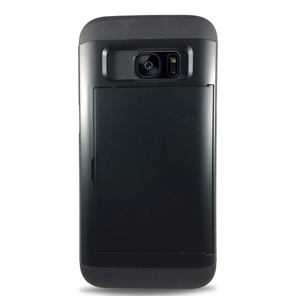 Protective Rugged Slide Card Samsung Galaxy Cases - Black