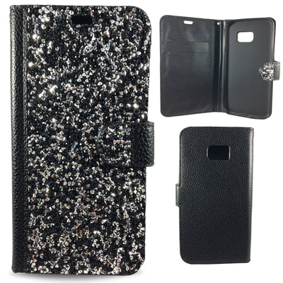 Wallet Case Diamond Bling Samsung Galaxy Case - Black