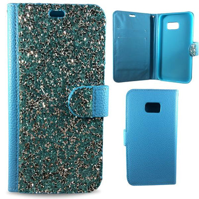 Wallet Case Diamond Bling Samsung Galaxy Case - Blue