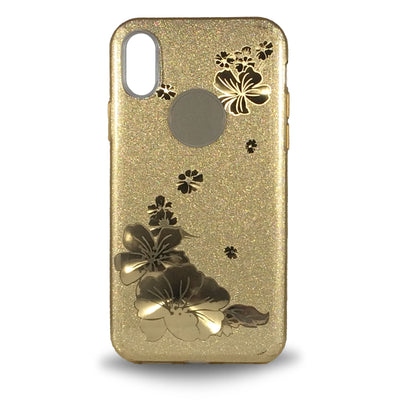 Flower Shiny Case for iPhone X - Gold