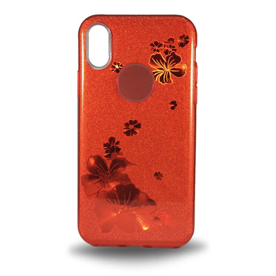 Flower Shiny Case for iPhone X - Red