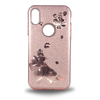 Flower Shiny Case for iPhone X - Rose Gold
