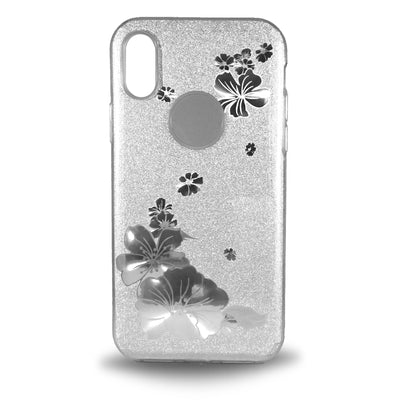 Flower Shiny Case for iPhone X - Silver