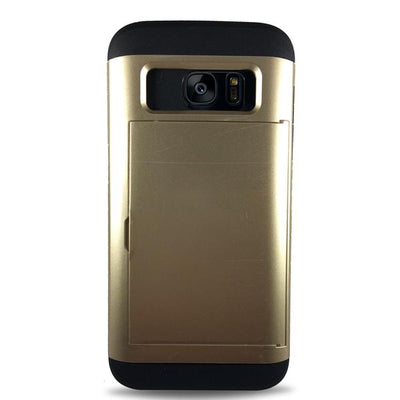 Protective Rugged Slide Card Samsung Galaxy Cases - Gold