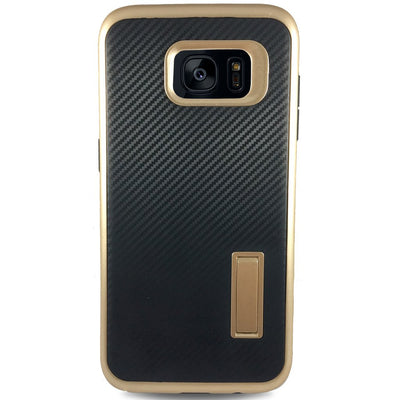 Carbon Kick Stand Samsung Galaxy S7 Cases -Gold