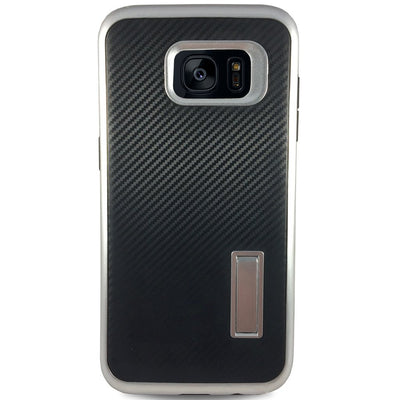 Carbon Kick Stand Samsung Galaxy S7 Cases - Silver