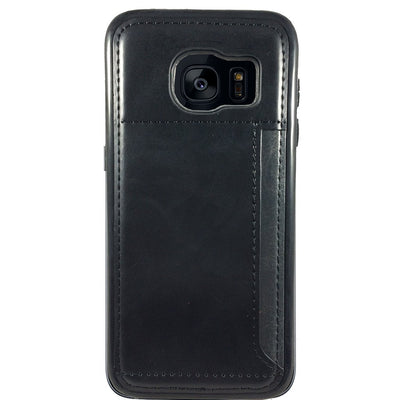 Leather Credit Card Case for Samsung S6 Edge - Black