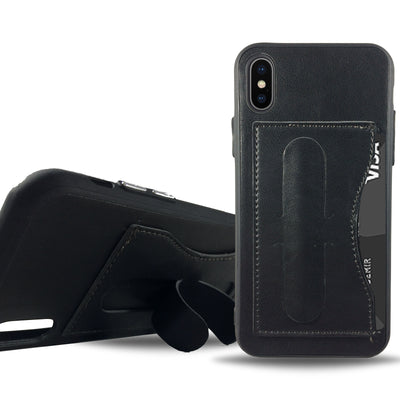 Leather Stand Case for iPhone X - Black