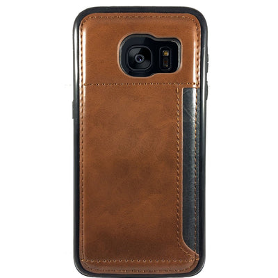 Leather Credit Card Case for Samsung S6 Edge - Brown